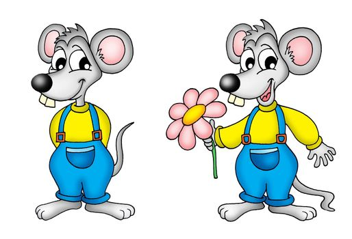 pair of mouses - color illustration.