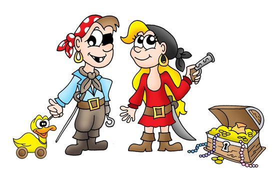Pirate kids with duck and treasure - color illustration.