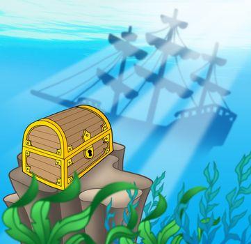 Treasure chest with shipwreck - color illustration.