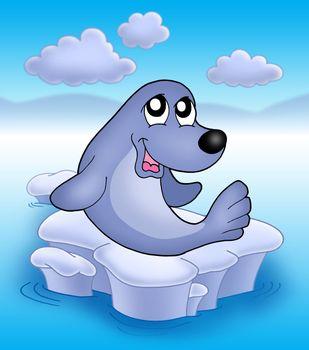 Cute seal an iceberg 2 - color illustration.