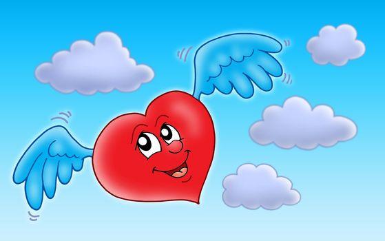 Flying heart on blue sky - color illustration.