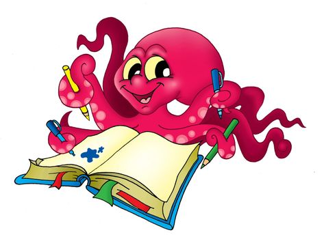 Octopus with pencils - color illustration.