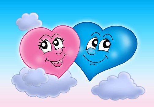Two hearts on sky - color illustration.