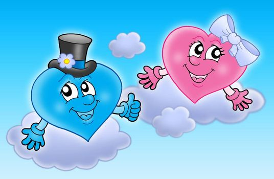 Two wedding hearts on sky - color illustration.