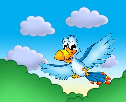 Flying blue parrot - color illustration.