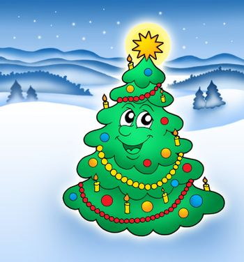 Smiling Christmas tree in snowy landscape - color illustration.
