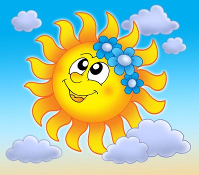 Smiling Sun with flowers on blue sky - color illustration.