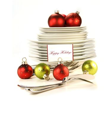 Festive place card holders with plates and cutlery