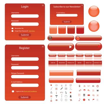 Web template with forms, bars, buttons and icons.