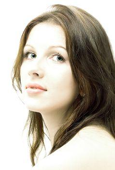 hi-key brunette portrait
