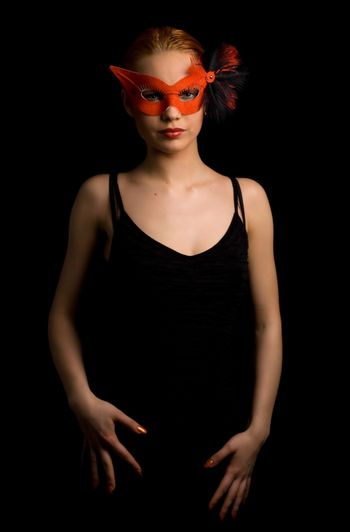 lady in red carnival mask