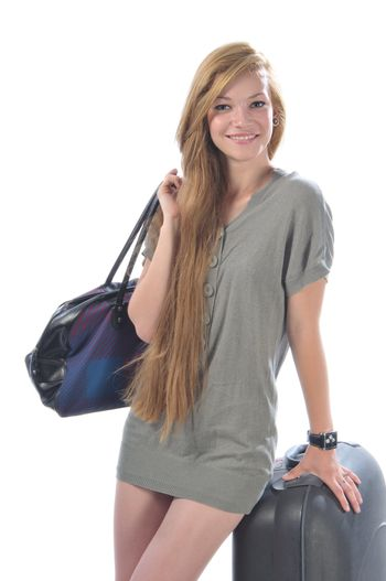 Girl with luggage, ready for travel
