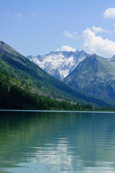 Mountain lake and glaciers