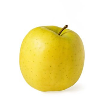 Ripe yellow apple isolated over white
