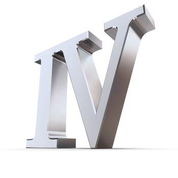 Metallic Roman Numeral 4