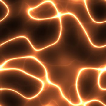 abstract neon orange electricity or neuron lines over black, seamlessly tillable as a pattern