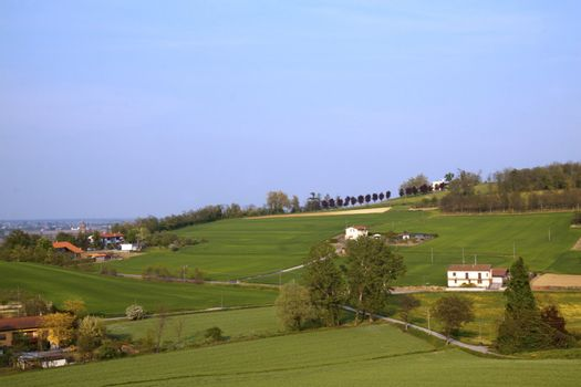 Landscape of country with fields and houses
