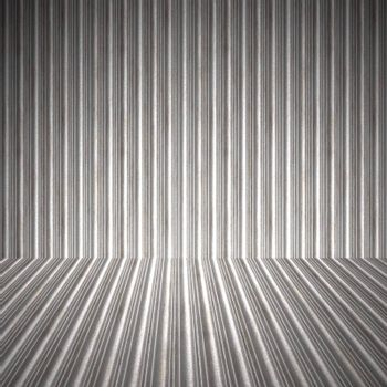 A 3D interior space with corrugated metal on the walls and floor.