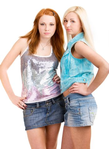Two teen girls on isolated white background