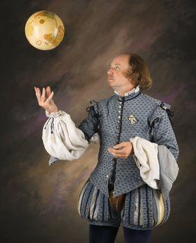 Shakespeare tossing globe.