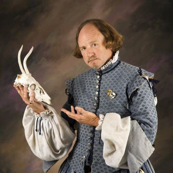 Shakespeare with deer skull.