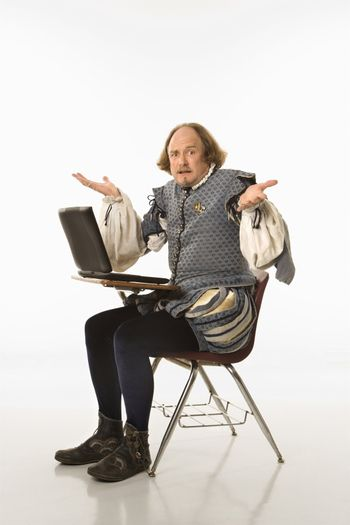 Shakespeare with laptop.