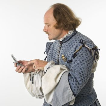 Shakespeare using cell phone.