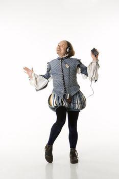 Shakespeare dancing with headphones.
