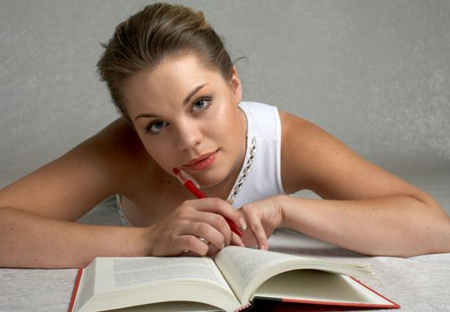 Pretty girl studying