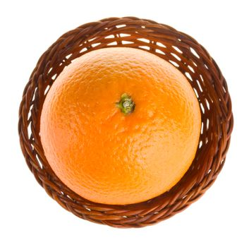 close-up orange in basket, view from above, isolated on white