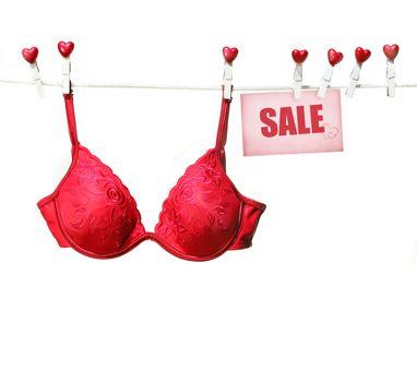 Fancy red bra hanging on clothesline