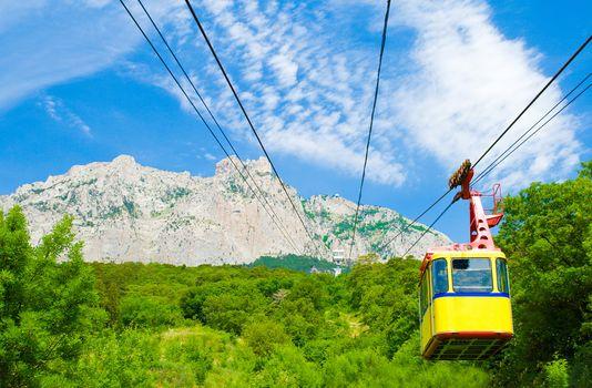 rope-way with tram on mountain Ai-Petri, Crimea