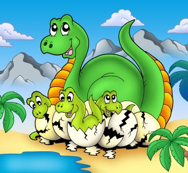 Dinosaur mom with little babies - color illustration.