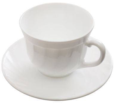 A cup on a saucer