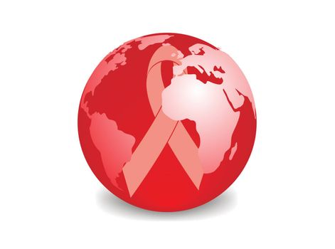 globe with red ribbon symbol of aids awareness