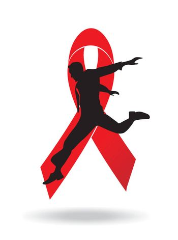 man jumping and red ribbon on white background