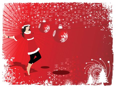 silhouette of beautifull girl in santa dress, wallpaper