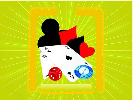 vector illustration of cards and chips on green background