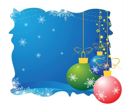 christmas - new year card with colored balls
