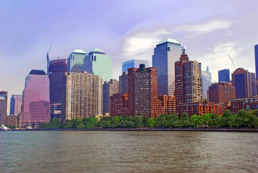 cityscape of New York City from river