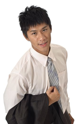 Young businessman with joy