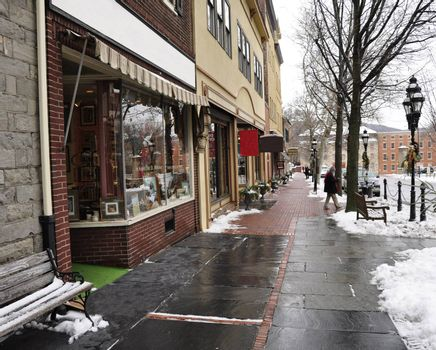 row of shops decorated for Christmas in Bethlehem, Pennsylvania