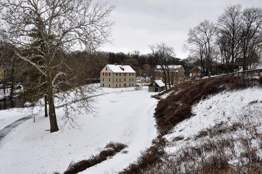 winter landscape in historic Bethlehem, Pennsylvania