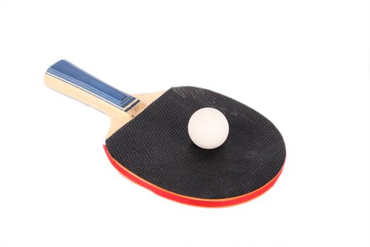 racet for ping-pong and white ball