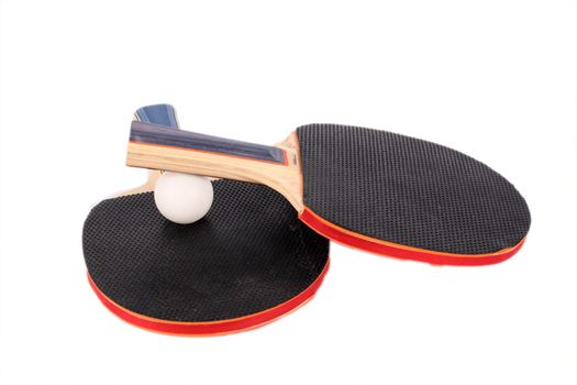 racets for ping-pong and white ball