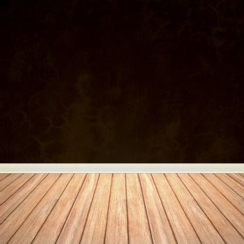 An empty room interior backdrop with hard wood flooring and a brown grungy wall.