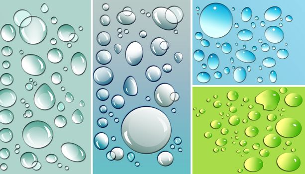 Multi-colored droplets with different colored backgrounds