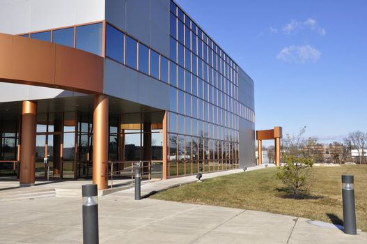glass exterior of a modern industrial building