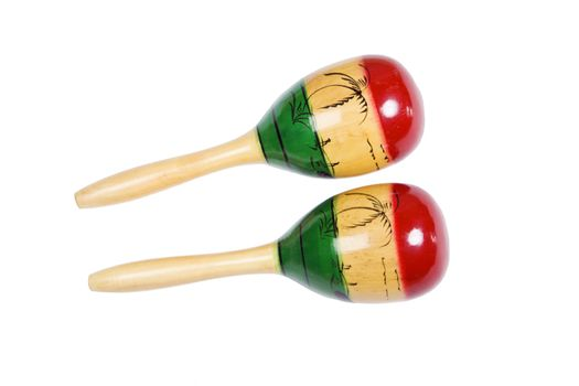 Two colorful shakers or maracas isolated with clipping path