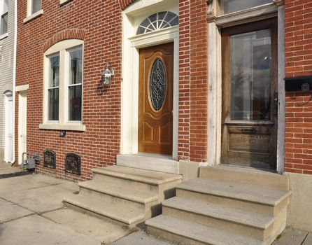 front entrances for red brick rowhomes